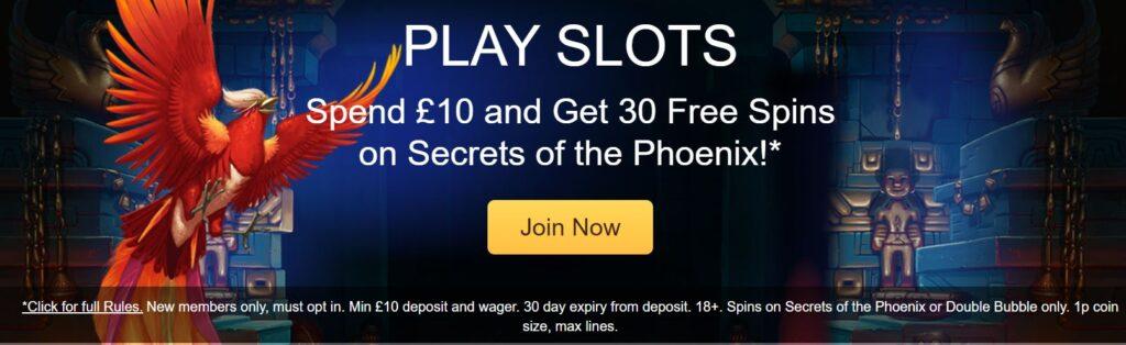 Secrets of the Phoenix 30 Free Spins