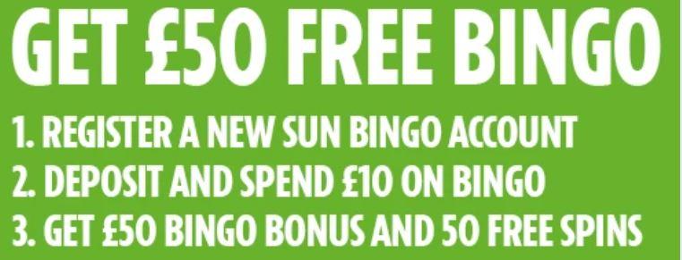 Sun Bingo Bonus details