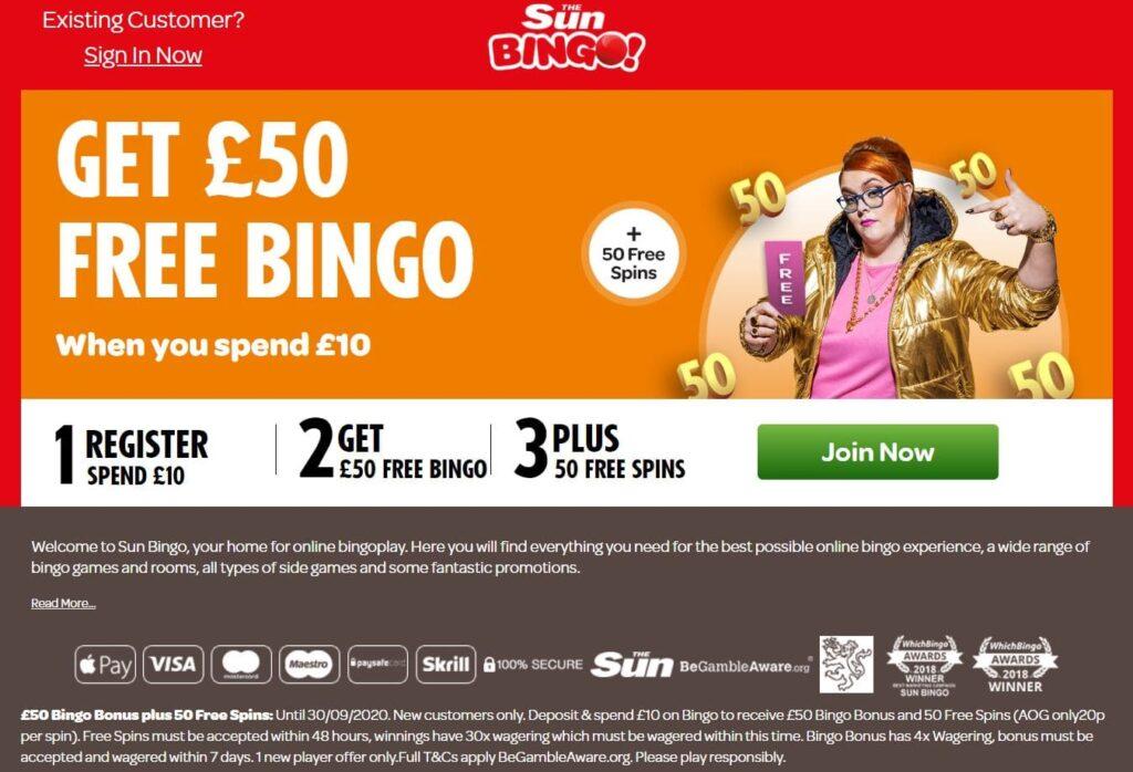 Sun Bingo 40 ball bingo Bonus 50 Free Spins Age Of Gods